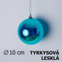 Vánoční koule tyrkysová 10cm