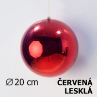 Vánoční koule červená 20cm