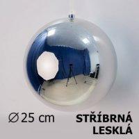 Vánoční koule stříbrná 25cm