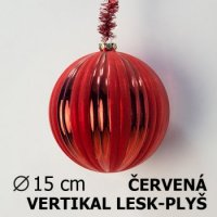 Vánoční koule DUO 15cm červená/červená