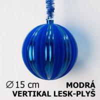 Vánoční koule DUO 15cm modrá/modrá