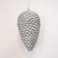Vánoční šiška stříbrná 18cm