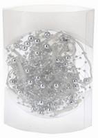 Vánoční LED girlanda s perličkami na baterie - stříbrná