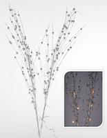 Větvičky svítící se stříbrnými perličkami - na baterie