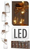LED GIRLANDA s 5 skleněnými lahvičkami
