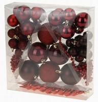 Vánoční koule - set 52ks - červené