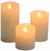 Vánoční LED svíčky set 3ks - bílé ( 5cm, 7,5cm, 10cm )