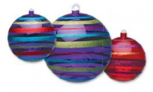 Vánoční koule transparentní červená/fialová, průměr 14 cm