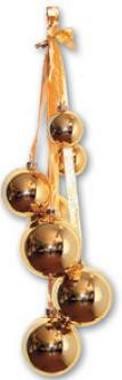 Vánoční svazek 7 koulí, 60 cm - zlatá