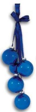 Vánoční svazek 5 koulí, 38 cm - modrá nebo červená