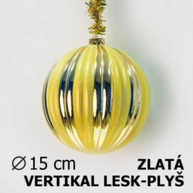 Vánoční koule DUO 15cm zlatá/žlutá