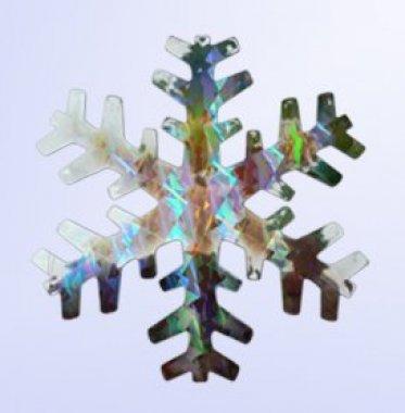 Vánoční vločka stříbrná 15cm holografická