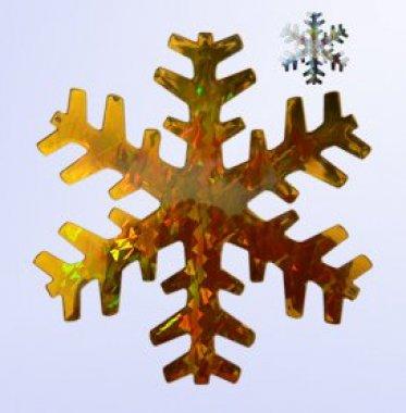 Vánoční vločka stříbrno-zlatá 15cm holografická