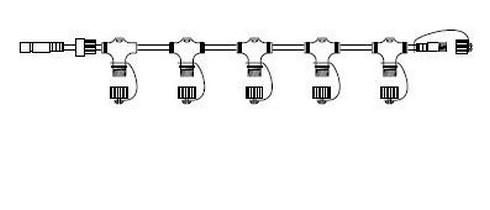 Průběžný rozbočovací kabel 230V, 1m - černá
