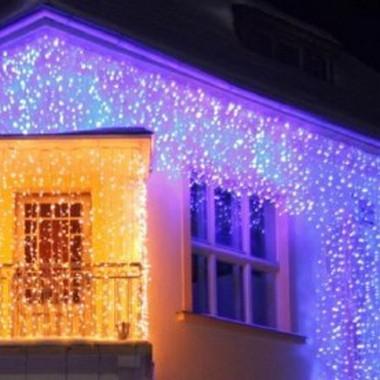 Světelný LED závěs efektový - studená bílá