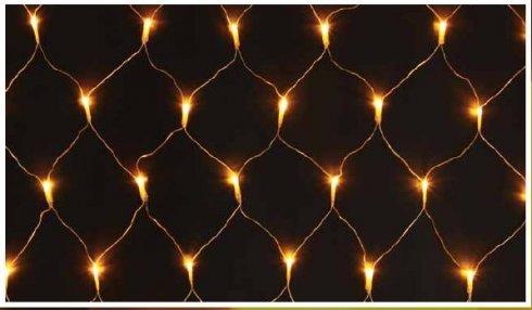 LED síť - teplá bílá, (transparentní)