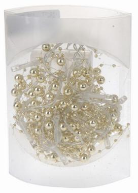 Vánoční LED girlanda s perličkami na baterie - zlatá