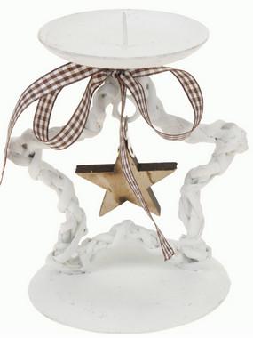 Vánoční svícen s hvězdou - bílý