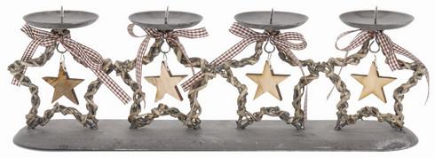 Vánoční adventní svícen s hvězdou - šedý