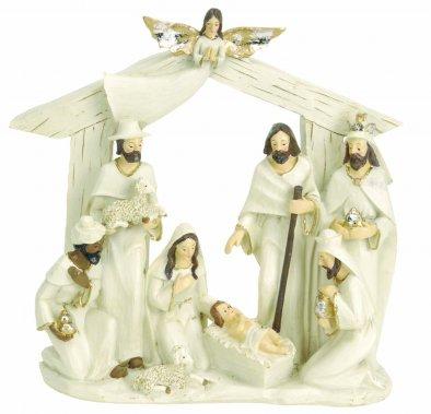 Vánoční betlém nesvítící - bílý