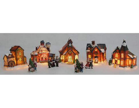 Vánoční vesnice - sada 5 domků + 4 figurky