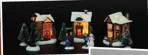 Vánoční vesnice - sada - 3 domky + 2 figurky + lampa + 4 stromky