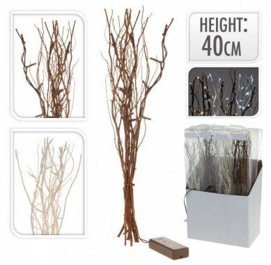 Větvičky vrbové svítící bílé 40 cm