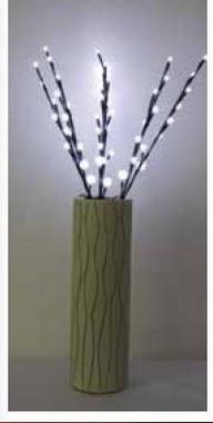Větvičky s bílými svítícími perličkami + napájecí zdroj