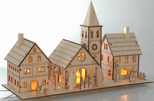 Vánoční dřevěná vesnice - svítící