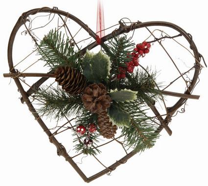 Srdce - závěsná dekorace ratanová