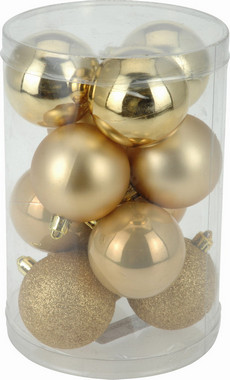 Vánoční koule - set 12ks - zlaté