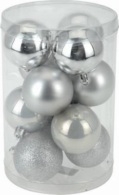 Vánoční koule - set 12ks - stříbrné