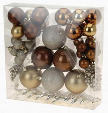 Vánoční koule - set 52ks - zlaté + měděné