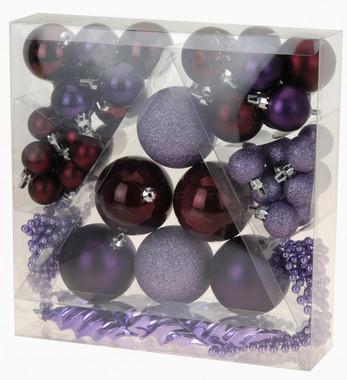 Vánoční koule - set 52ks - fialové