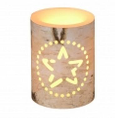 Vánoční LED svíčka s motivem hvězdy - 7,5x7,5x15cm