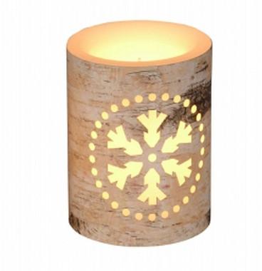 Vánoční LEd svíčka s motivem vločky - 7,5x7,5x15cm