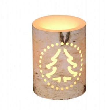 Vánoční LED svíčka s motivem stromku - 7,5x7,5x15cm