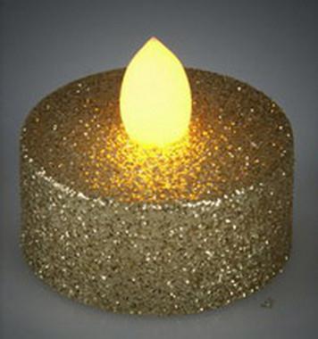 Vánoční LED čajové svíčky - třpytivě zlaté