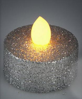 Vánoční LED čajové svíčky - třpytivě stříbrné