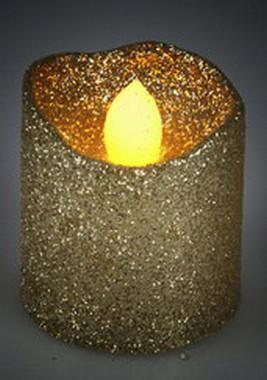 Vánoční LED čajové svíčky maxi - třpytivě zlaté